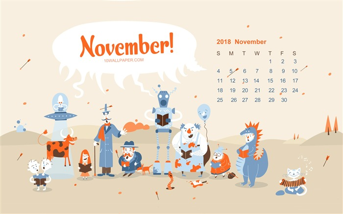 November 2018 Calendars Theme HD Desktop Views:3924