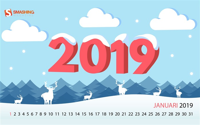 January 2019 Calendars HD Desktop Theme Views:5164