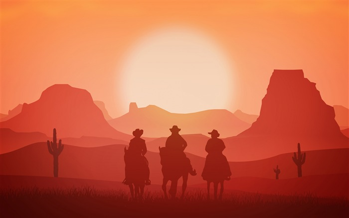 American western cowboy red sunset illustration Views:4381 Date:12/31/2018 7:48:00 AM