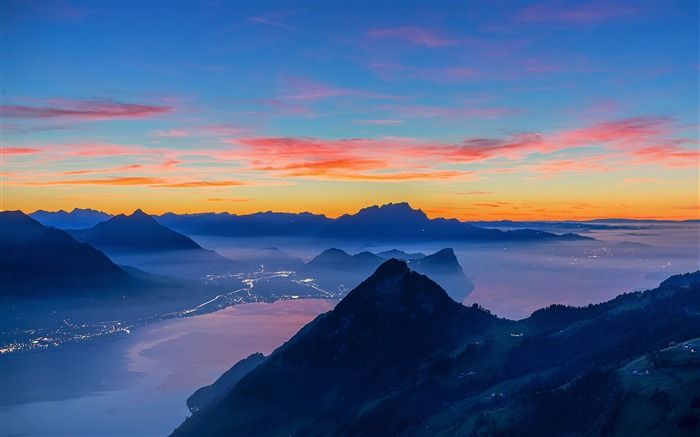 Mountains peaks Sunset 2020 Nature Scenery Photo Views:3918 Date:3/27/2020 6:27:18 AM