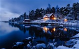 Title:Snow at night-Stockholm Sweden landscape photography HD wallpaper Views:22963
